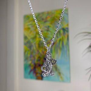 evil devil silver pendant necklace choker